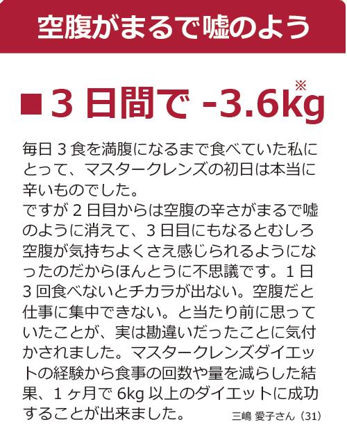 マスタークレンズ3日間で-3.6kg