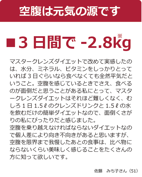 マスタークレンズ3日間で-2.8kg